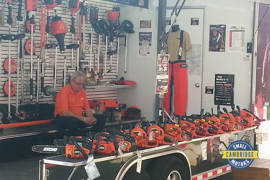 cambridge small motors annual bbq echo dealer setup with trailer
